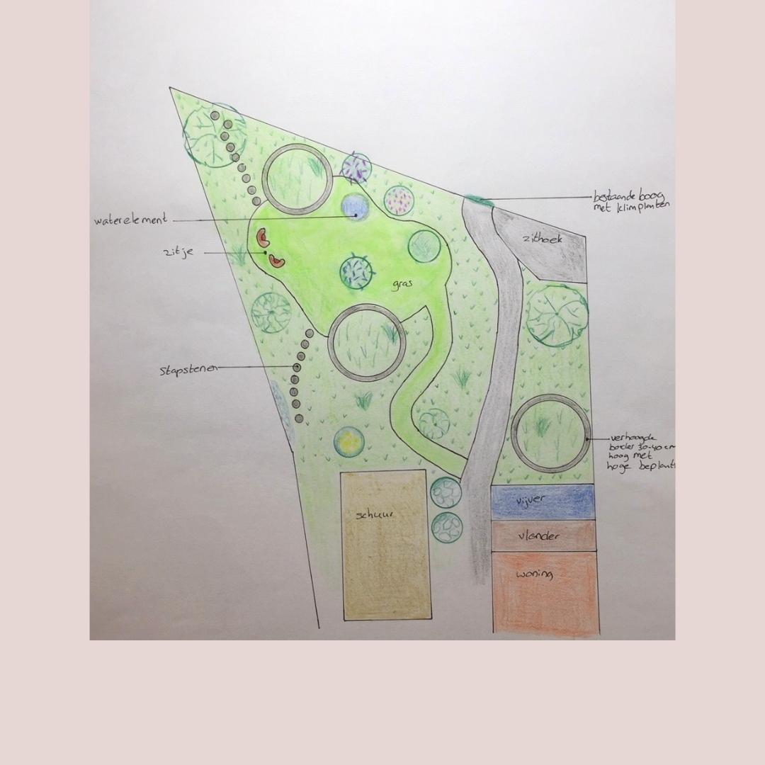 Recent ontwerp weelderige tuin